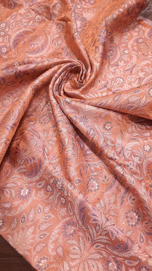 Light orange pure silk blouse fabric with multicolor motifs allover
