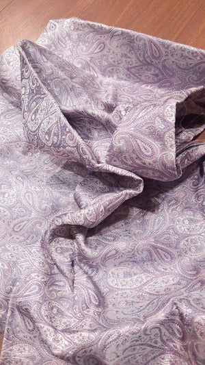 Grey pure silk blouse fabric with silver motifs all over
