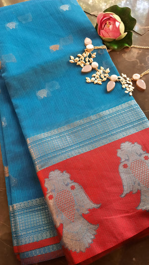Blue kota saree with silver zari weaving and red border with silver zari motifs