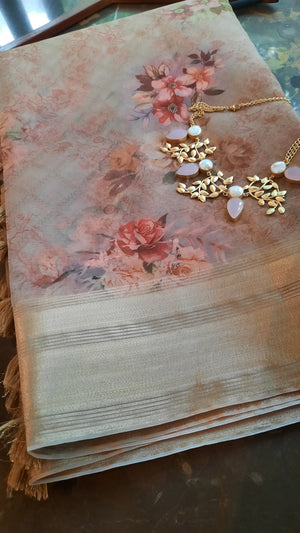 Cream digital print kora with golden zari border