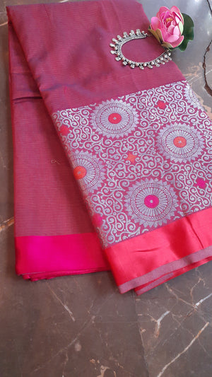 Maroon chanderi saree with silver zari weaving and red border