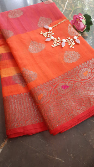 Chanderi saree with stripes at above and golden zari weaving and booties allover