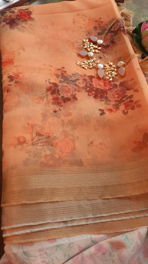 Light orange digital print kora with golden zari border