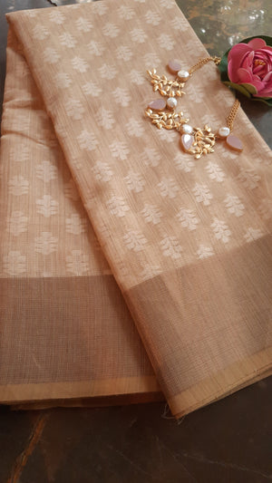 Cream supernet kota saree with golden zari border