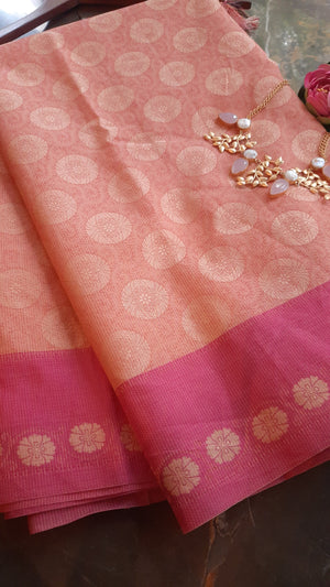 Pink kota saree with pink border and yellow motif weaving allover