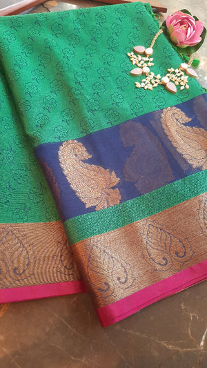 Green kora tanchui saree with golden zari weaving