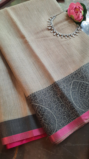 Grey supernet kota saree with black motif border