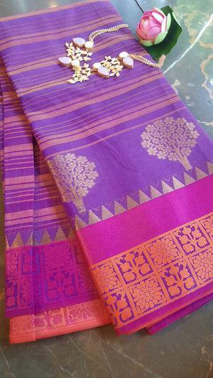 Purple chanderi saree with golden motifs and pink border
