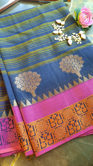 Blue and yellow strip chanderi saree with pink border and golden motifs