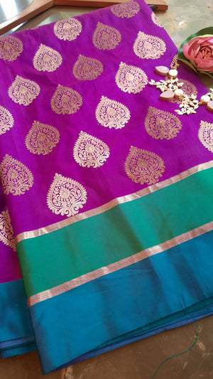Purple katan silk saree with golden bootie allover