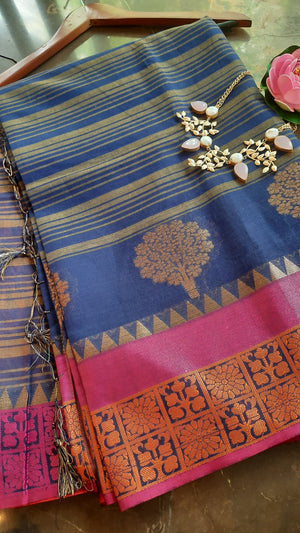 Blue and light yellow strips chanderi saree with golden motifs and pink border