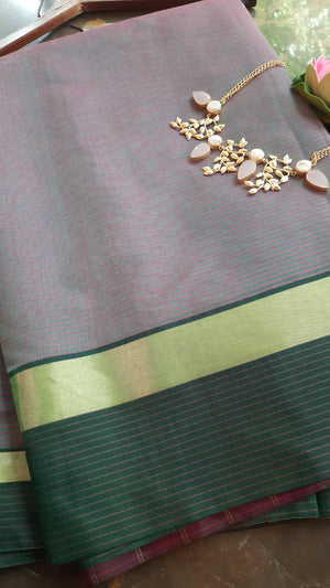 Greenish purple chanderi saree with green and golden border