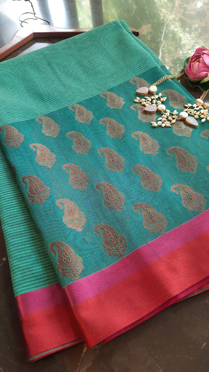 Sea green chanderi saree with golden booties and pink border