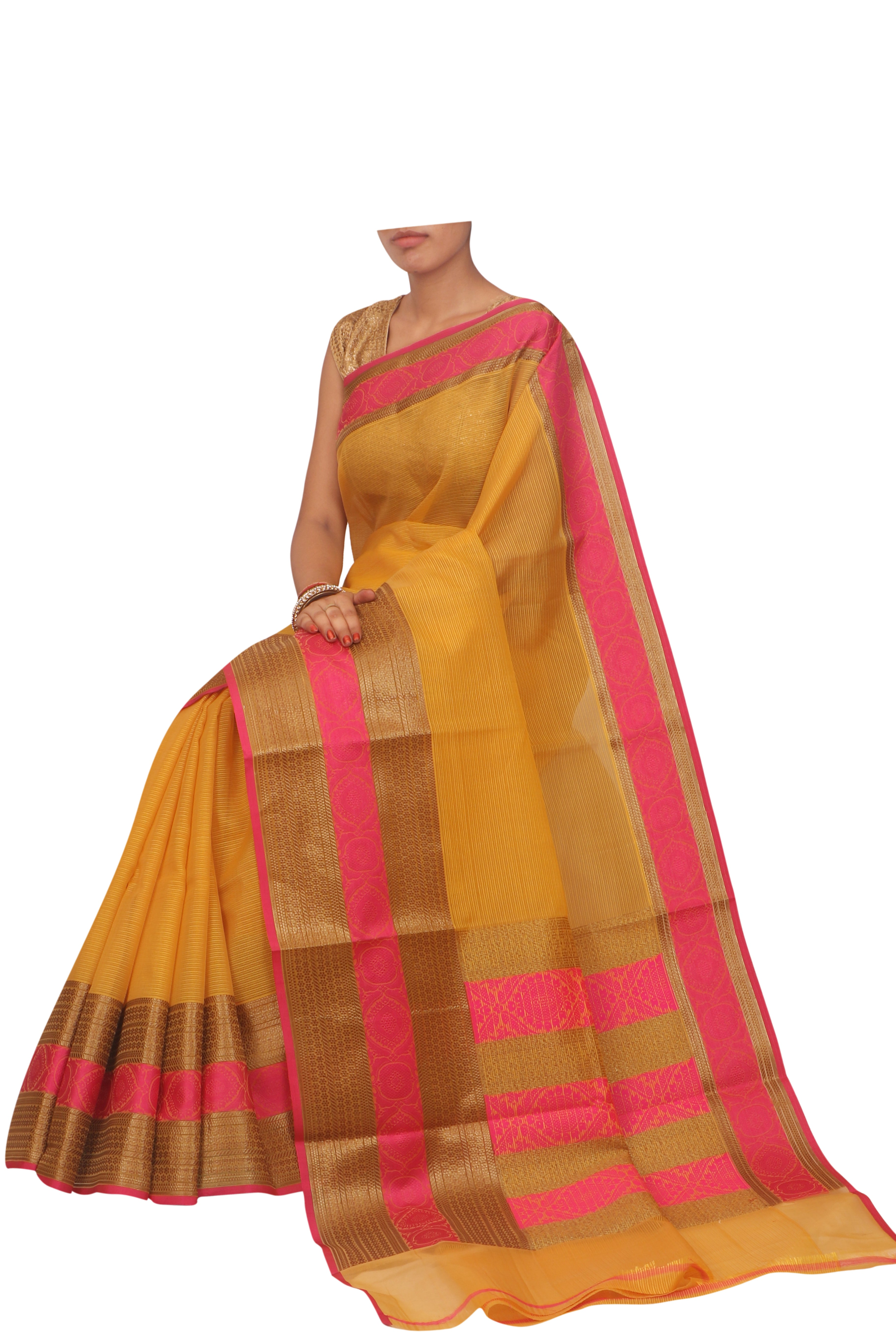 Bright yellow sheer sari with gold and pink border - EthnicRoom