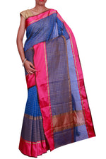 Small checks on royal blue saree and contrasting pink border - EthnicRoom