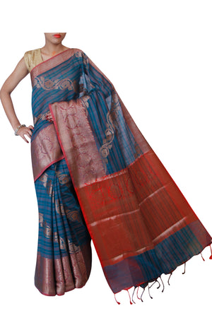 Diagonal zari design on striped green jute cotton saree - EthnicRoom