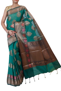 Green jute cotton with zari bootas allover and floral border - EthnicRoom