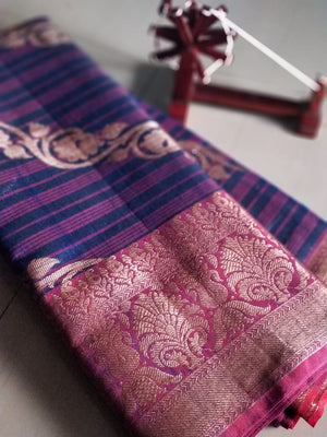 Diagonal zari design on striped blue jute cotton saree - EthnicRoom