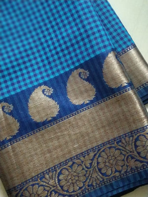 Small checks on blue chanderi with paisley gold border - EthnicRoom