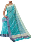Green chanderi saree with silver booties and gray border - EthnicRoom