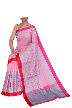 Wide intricate silver border on striped pink Kota saree - Naayaab - EthnicRoom