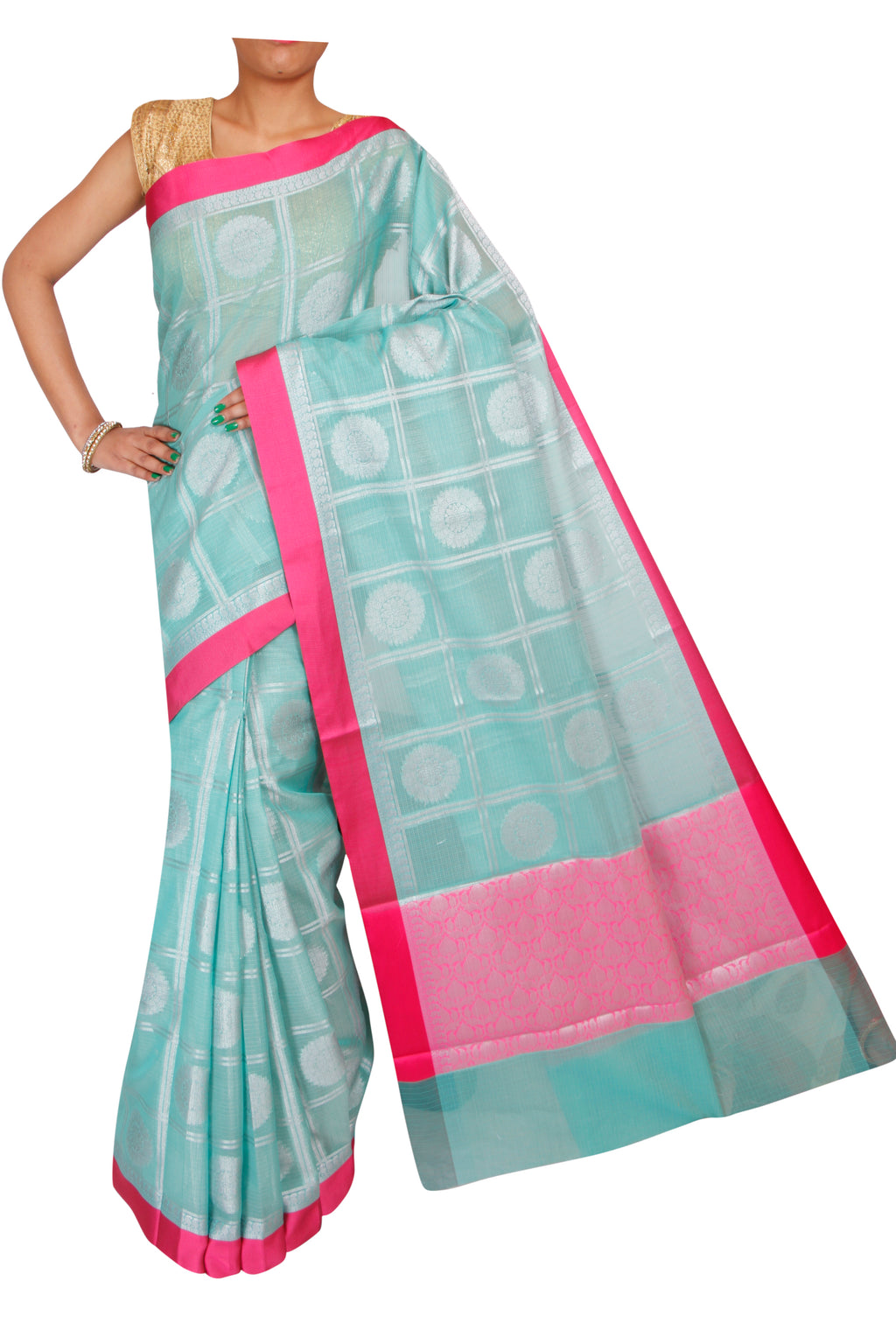 Silver checks and designs on Sea green kota saree - EthnicRoom