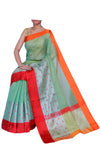 Wide intricate silver border on striped green Kota saree - Naayaab - EthnicRoom