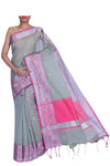 Moss green chanderi with pink and silver zari border- Naayaab - EthnicRoom