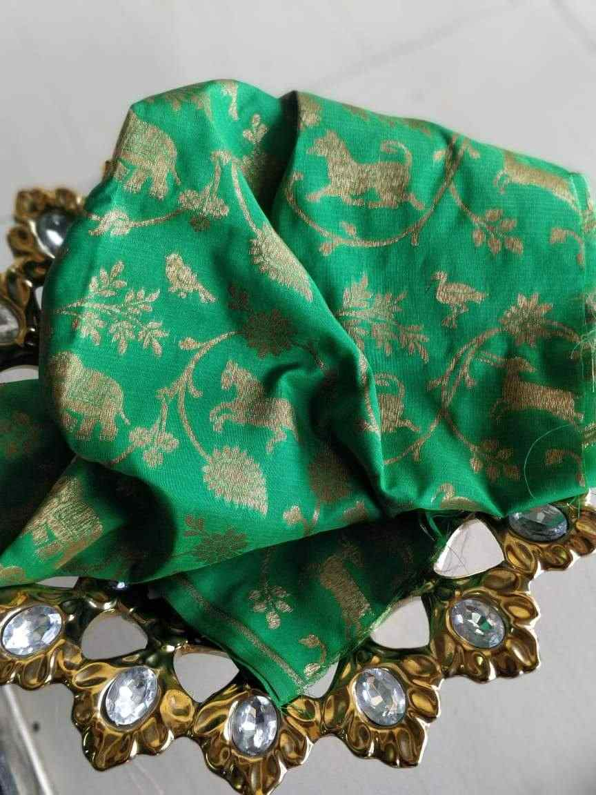 Antique zari flora and fauna on bottle green blouse fabric BL069 - EthnicRoom