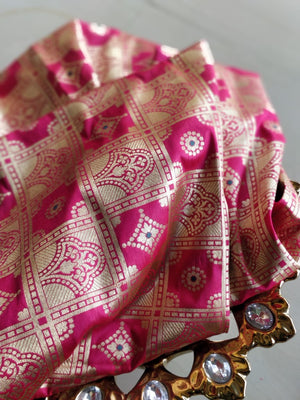 Golden checks and designs on pink blouse fabric BL125 - EthnicRoom