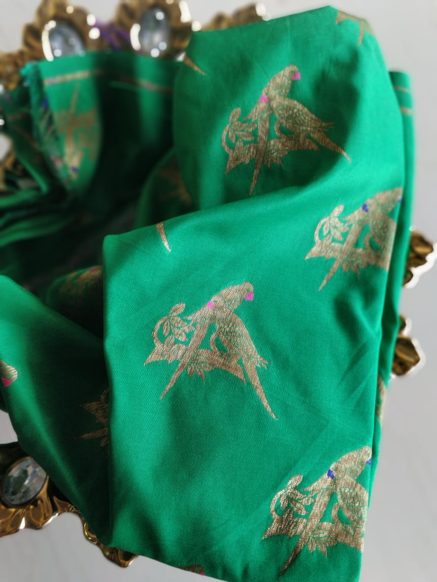 Birds in gold woven on bottle green blouse fabric BL127 - EthnicRoom