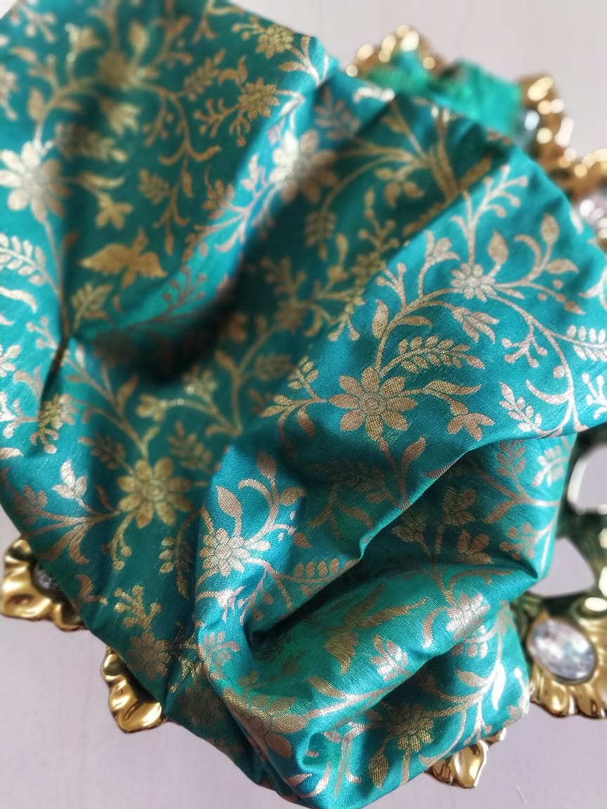 Floral jaal in gold on green blouse fabric BL083 - EthnicRoom