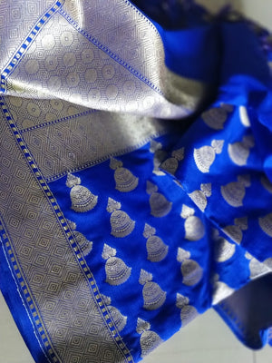 Jhumki design in zari allover on royal blue silk dupatta DT096 - EthnicRoom