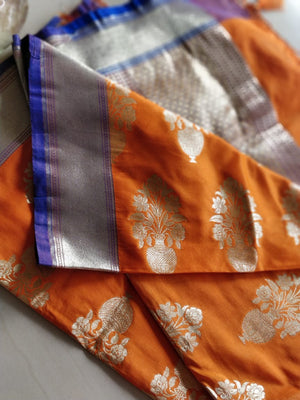 Golden zari vase design on mustard orange benarasi silk dupatta DT126 - EthnicRoom