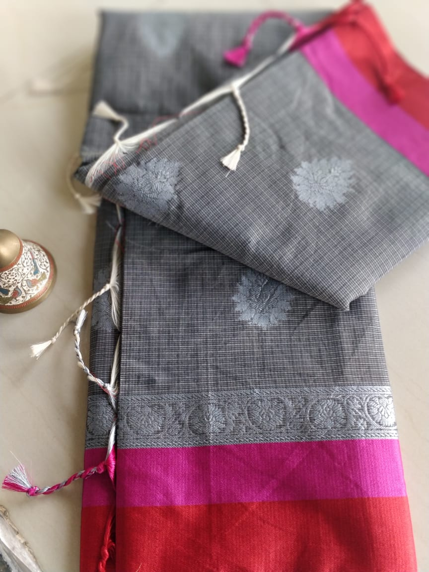 Gray kota saree with silver border and booties- Naayaab - EthnicRoom