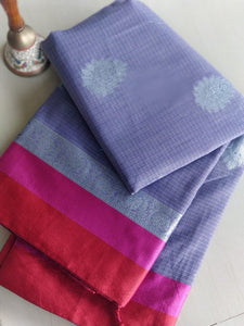 Lavender kota saree with silver booties along with contrasting border- Noor - EthnicRoom