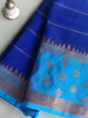 Navy blue kora silk with sky blue border and antique zari- Saanjh - EthnicRoom