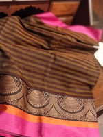 Jhumki pattern border on striped maroon and green chanderi saree - EthnicRoom
