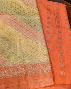 Cotton silk dyeable suit with zari booties and multicolor  dupatta - EthnicRoom