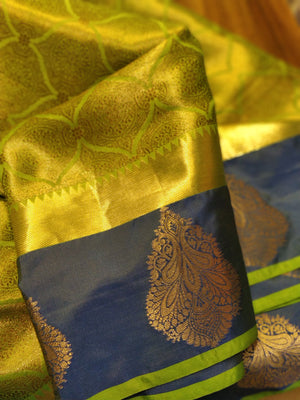 Bright green and blue silk saree with overall zari - EthnicRoom