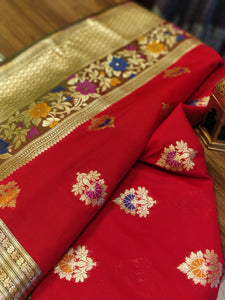 Bright red silk saree with heavy zari border and floral booties allover - EthnicRoom