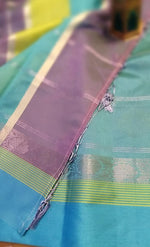 Purple chanderi cotton with all over golden and silver motifsSUD143C - EthnicRoom