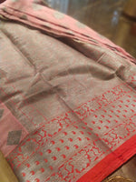 Pink kota with heavy silver zari booties and border - EthnicRoom