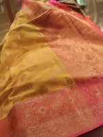 Yellow kota with pink zari border and booties allover - EthnicRoom