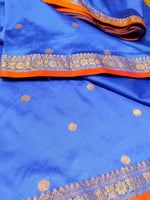 Royal blue soft silk saree with beautiful red zari border - EthnicRoom
