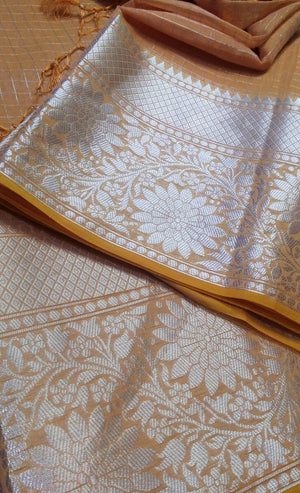 Light peach chanderi with allver silver zari checks wide silver zari border - EthnicRoom