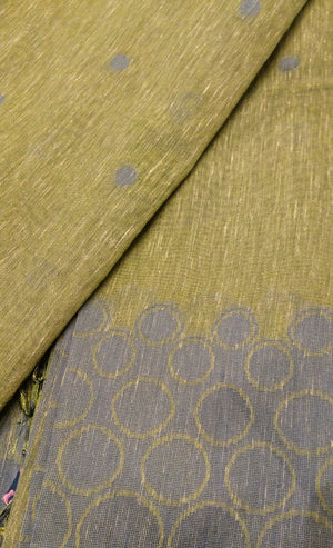 Olive green soft linen saree with gray silk border - EthnicRoom