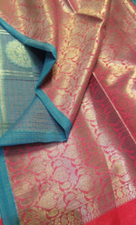 Sky blue kota saree with allover silver zari checks