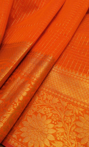 Orange chanderi saree with allover golden checks wide zari border - EthnicRoom