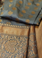 Beautiful gray soft silk saree wide zari border with allover golden zari butties - EthnicRoom